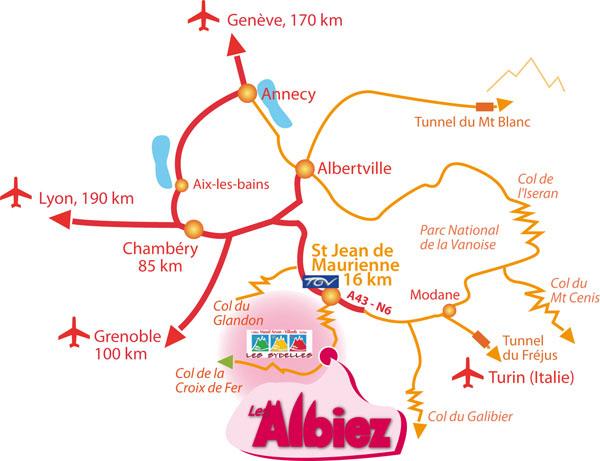 Plan d'accès Albiez Montrond