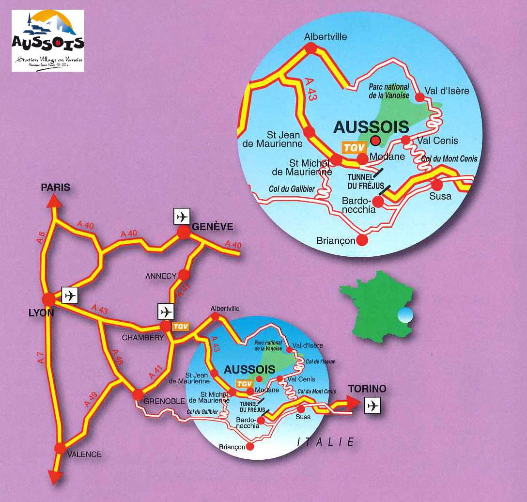Plan d'accès Aussois
