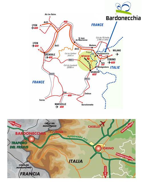 Plan d'accès Bardonecchia