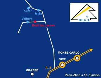 Plan d'accès Beuil les Launes