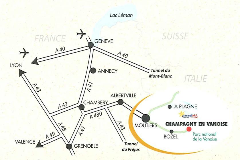 Plan d'accès Champagny-en-Vanoise