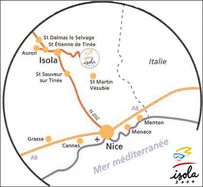 Plan d'accès Isola 2000
