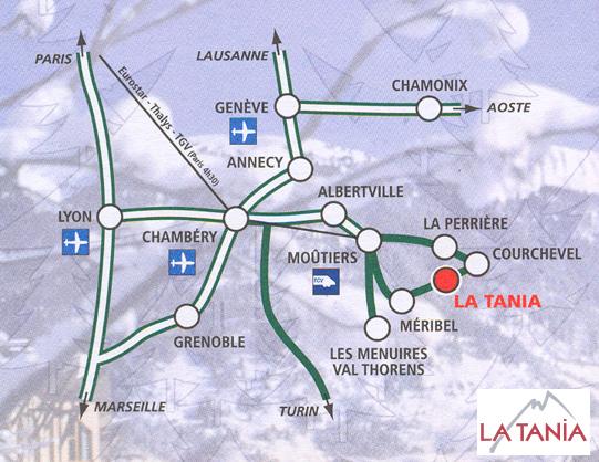 Plan d'accès La Tania