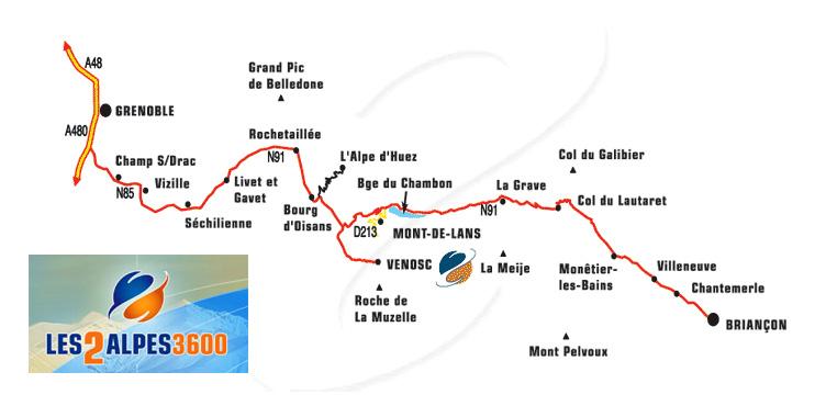 Plan d'accès Les 2 Alpes