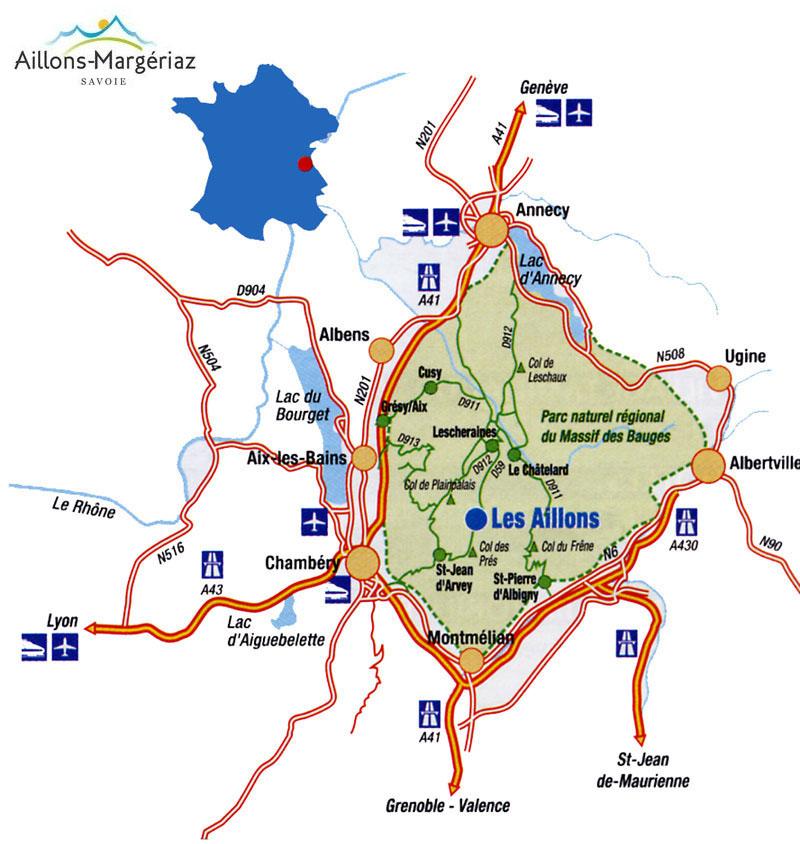 Plan d'accès Les Aillons