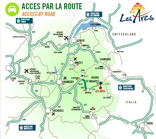 Plan d'accès Les Arcs