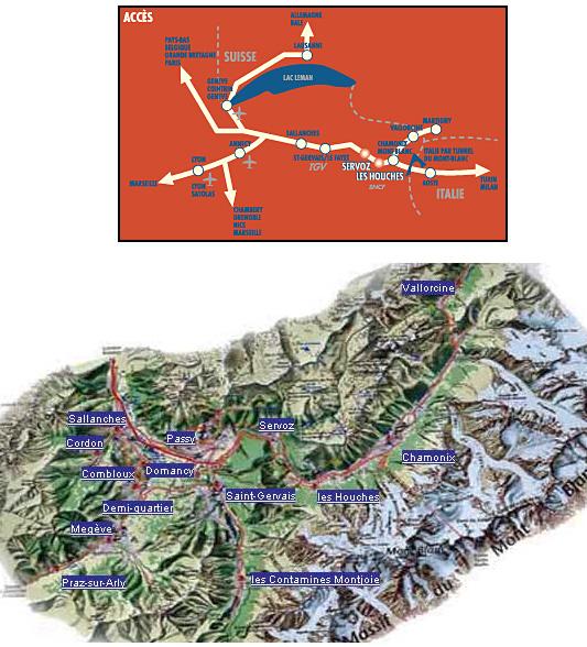 Plan d'accès Les Houches