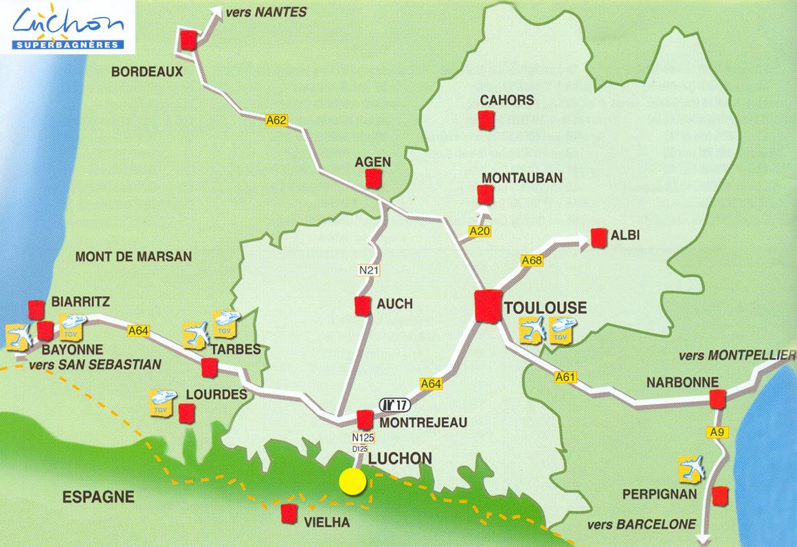 Plan d'accès Luchon-Superbagneres