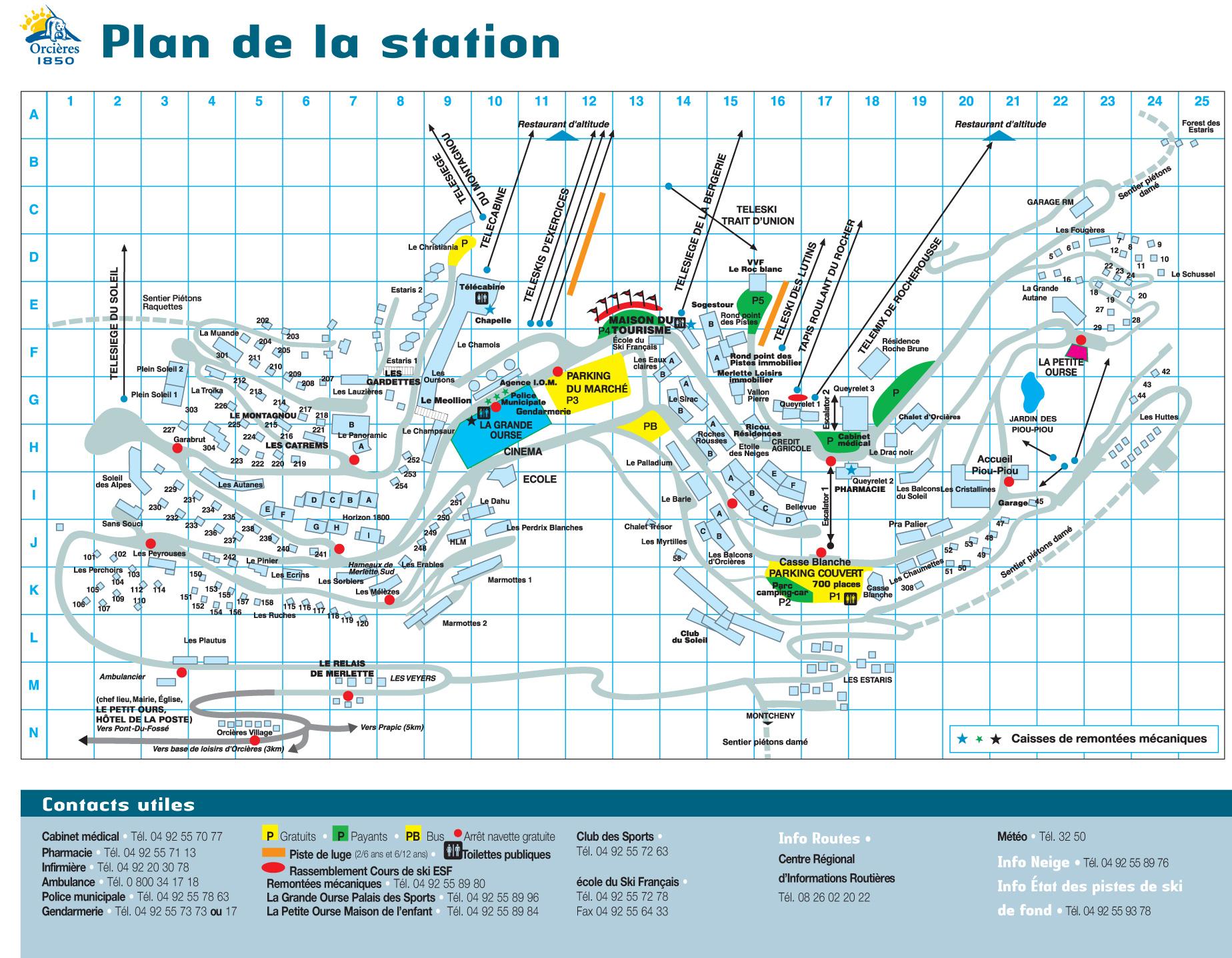 Plan d'accès Orcières Merlette 1850