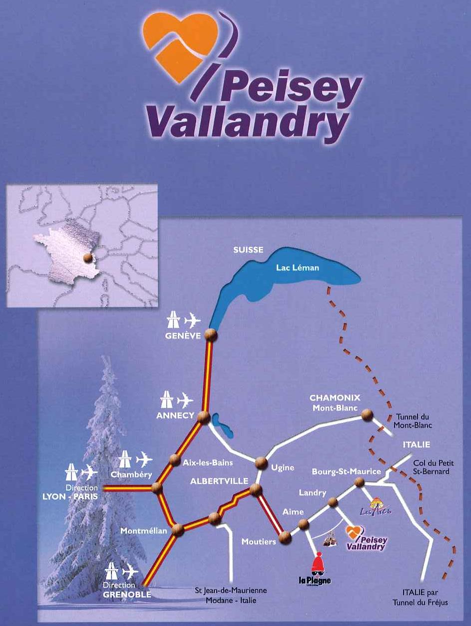 Plan d'accès Peisey-Vallandry