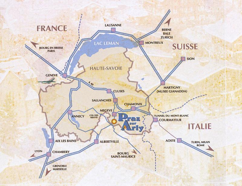 Plan d'accès Praz sur Arly
