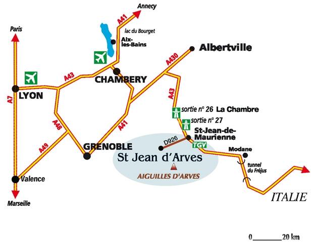 Plan d'accès Saint Jean d'Arves