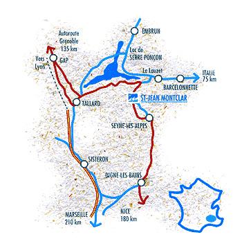 Plan d'accès Saint-Jean Montclar