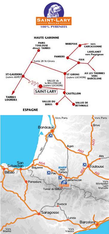 Plan d'accès Saint Lary Soulan