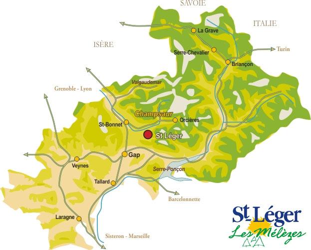 Plan d'accès Saint-Léger-les-Mélèzes
