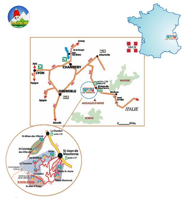 Plan d'accès Saint Sorlin d'Arves