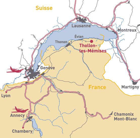 Plan d'accès Thollon les Mémises