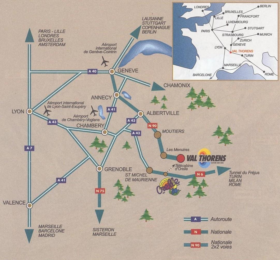 Plan d'accès Val Thorens