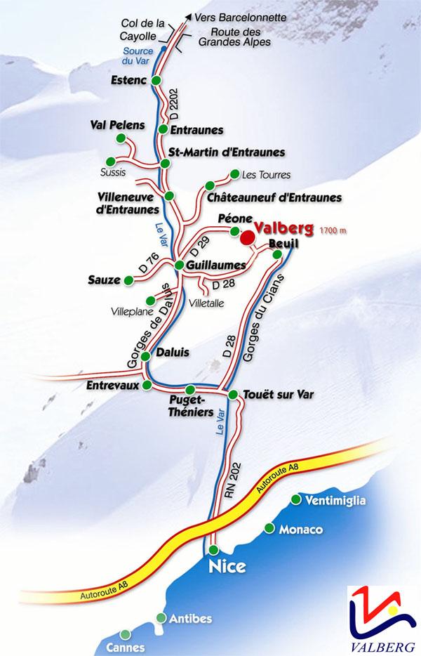Plan d'accès Valberg / Beuil