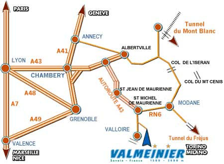 Plan d'accès Valmeinier