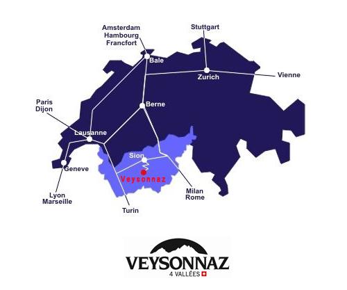 Plan d'accès Veysonnaz