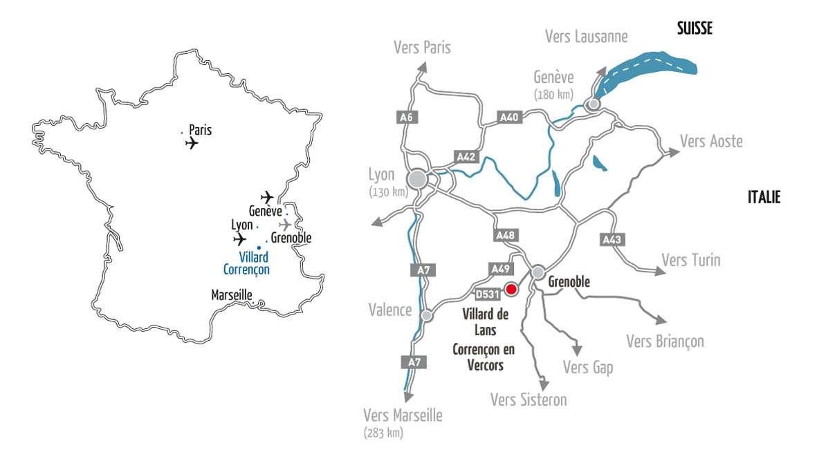 Plan d'accès Villard de Lans